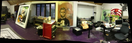 Panorama of Elliott Earls studio prior to Hypertension Exhibit