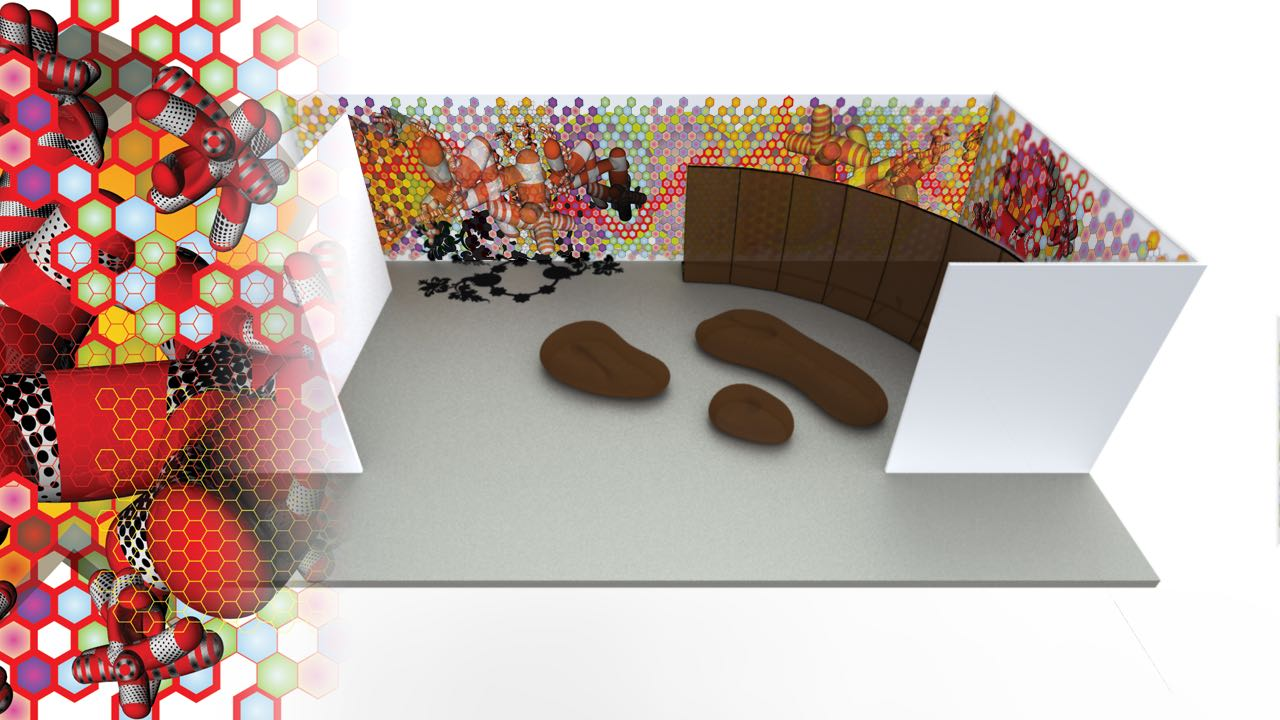The 3D model of the Installation presented to AXA prior to fabrication and installation.