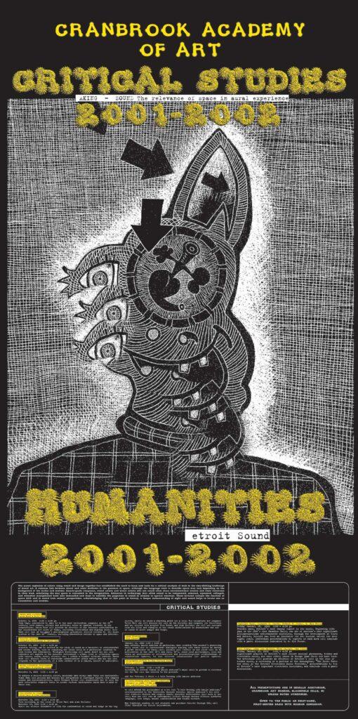 2001 Cranbrook Critical Studies Poster by Elliott Earls.