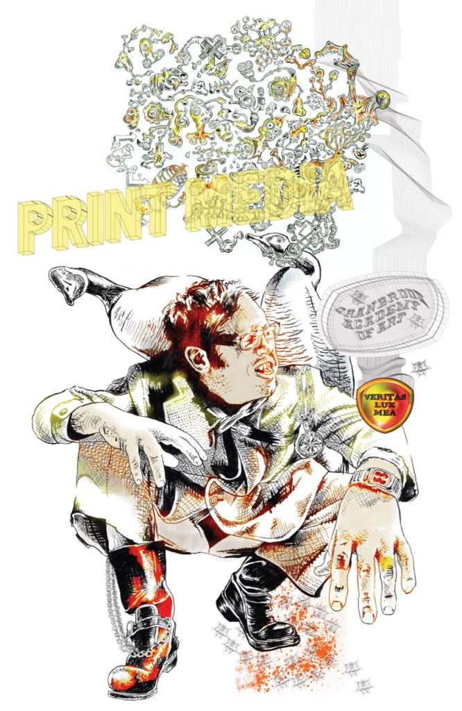"PrintMedia Department Poster By Elliott Earls 20 x 30"" Offset Lithography 2008"