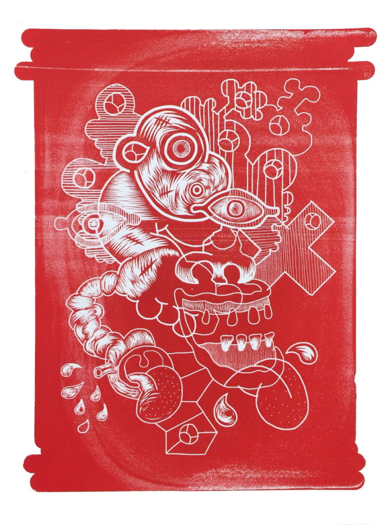 The Many Ways I Remain Defiant In The Face Of Institutionalized Stupidity (Distressed Red) By Elliott Earls 22 x 30″ One Spot Color – Edition of 10 Printed on Rives BFK 250gsm. Heavy Weight 100% Cotton Paper with a Deckle Edge Signed & numbered by the Artist Released February 12, 2016.