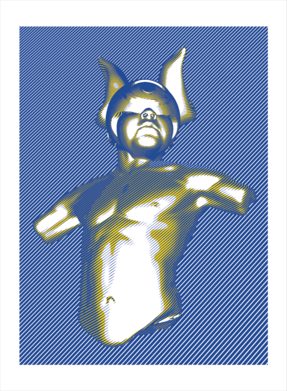 Cyclops In Blue, Gray and Yellow By Elliott Earls 22 x 30 in. 3 Spot Color Hand Pulled Screenprint on American Masters 250gsm. 100% Cotton Paper. Deckle Edge. Signed and Numbered, Edition of 10. Released October 3, 2016.