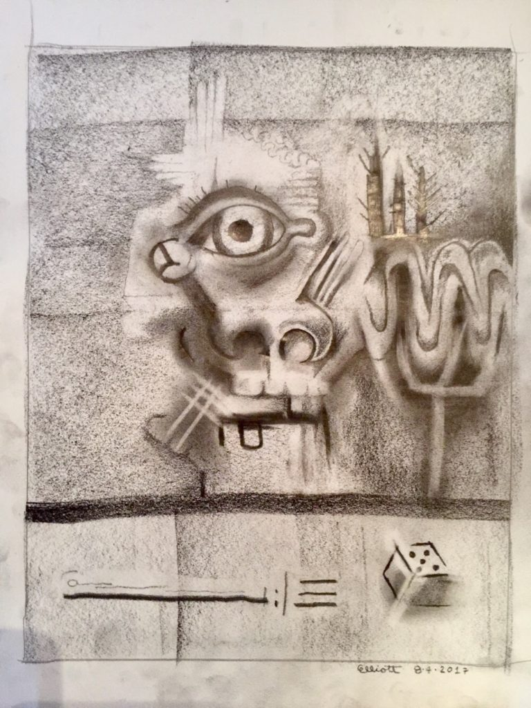Preparatory Drawing 8417 by Elliott Earls 9x12in. Graphite and Charcoal on Acid Free Paper. 2017.