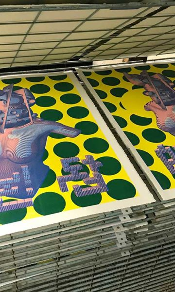 Prints in the drying rack